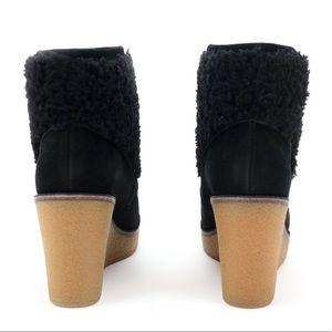 e3044f84e93 UGG Coldin Black Sheepskin Cuff Wedge Boots 🔥 Boutique